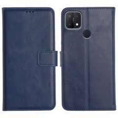 Oppo A15S Magnetic Flip Cover Leather Finish Mobile Case - Blue