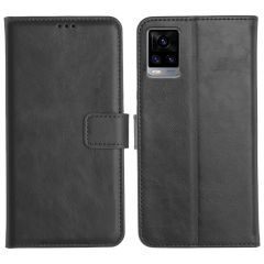 Vivo V20 Magnetic Flip Cover Leather Finish Mobile Case - Black
