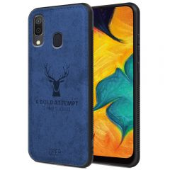 Samsung Galaxy A30 Back Case Cover Soft Fabric Deer Series - Blue