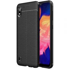 Black Leather Texture Stitch Samsung A10 Back Case Cover