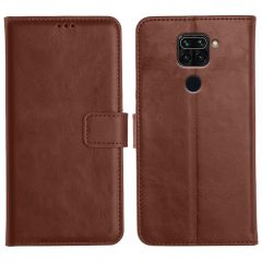 Redmi Note 9 Magnetic Flip Cover Leather Finish Mobile Case - Brown