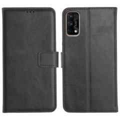 Realme 7 Pro Magnetic Flip Cover Leather Finish Mobile Case - Black
