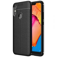 Black Leather Texture Stitch Redmi 6 Pro Back Case Cover