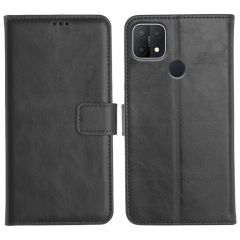 Oppo A15 Magnetic Flip Cover Leather Finish Mobile Case - Black