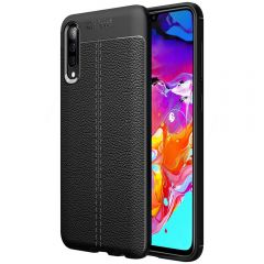 Black Leather Texture Stitch Samsung A70 Back Case Cover