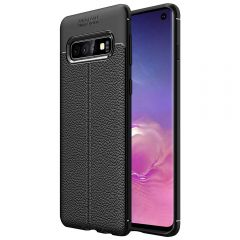 Black Leather Texture Stitch Samsung S10 Back Case Cover