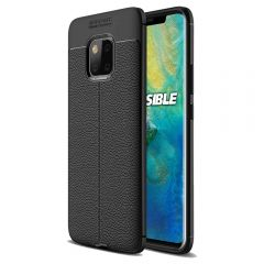 Black Leather Texture Stitch Huawei Mate 20 Back Case Cover