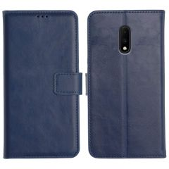 OnePlus 7 Magnetic Flip Cover Leather Finish Mobile Case - Blue