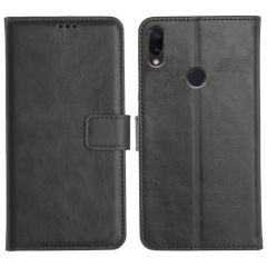 Redmi Note 7S Magnetic Flip Cover Leather Finish Mobile Case - Black