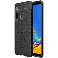 Black Leather Texture Stitch Samsung A9 Back Case Cover