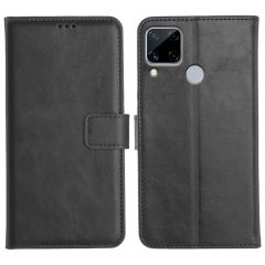 Realme C15 Magnetic Flip Cover Leather Finish Mobile Case - Black