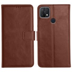 Oppo A15 Magnetic Flip Cover Leather Finish Mobile Case - Brown