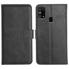 Samsung Galaxy M31 Magnetic Flip Cover Leather Finish Mobile Case - Black