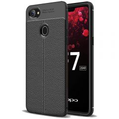 Black Leather Texture Stitch Oppo F7 Back Case Cover