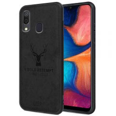 Samsung Galaxy A20 Back Case Cover Soft Fabric Deer Series - Black