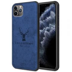 iPhone 11 Pro Back Case Cover Soft Fabric Deer Series - Blue