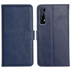Realme 7 Magnetic Flip Cover Leather Finish Mobile Case - Blue