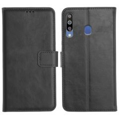 Samsung Galaxy M30 Magnetic Flip Cover Leather Finish Mobile Case - Black