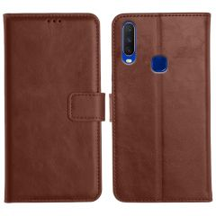Vivo Y12 Magnetic Flip Cover Leather Finish Mobile Case - Brown