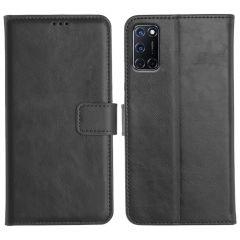 Oppo A52 Magnetic Flip Cover Leather Finish Mobile Case - Black