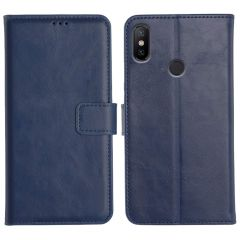Mi A2 Magnetic Flip Cover Leather Finish Mobile Case - Blue