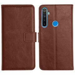 Realme 5 Magnetic Flip Cover Leather Finish Mobile Case - Brown