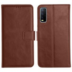 Vivo Y20I Magnetic Flip Cover Leather Finish Mobile Case - Brown