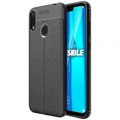 Black Leather Texture Stitch Huawei Y9 (2018) Back Case Cover