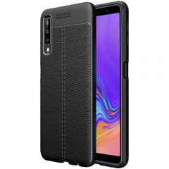 Black Leather Texture Stitch Samsung A7 Back Case Cover
