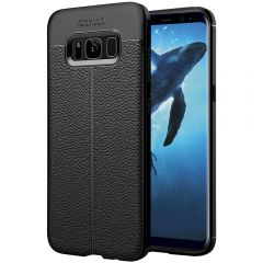 Black Leather Texture Stitch Samsung S8 Back Case Cover