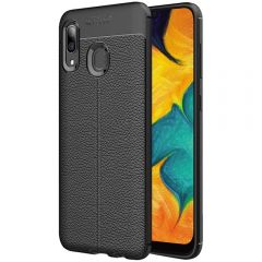 Black Leather Texture Stitch Samsung A30 Back Case Cover