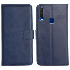 Vivo Y12 Magnetic Flip Cover Leather Finish Mobile Case - Blue