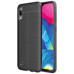Black Leather Texture Stitch Samsung M10 Back Case Cover