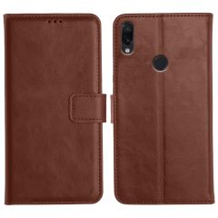 Redmi Note 7S Magnetic Flip Cover Leather Finish Mobile Case - Brown