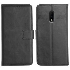 OnePlus 7 Magnetic Flip Cover Leather Finish Mobile Case - Black