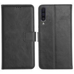 Samsung Galaxy A50 Magnetic Flip Cover Leather Finish Mobile Case - Black