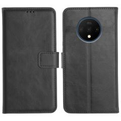 OnePlus 7T Magnetic Flip Cover Leather Finish Mobile Case - Black