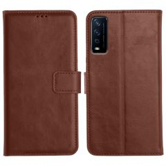 Vivo Y12S Magnetic Flip Cover Leather Finish Mobile Case - Brown