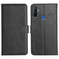 Realme Narzo 10A Magnetic Flip Cover Leather Finish Mobile Case - Black
