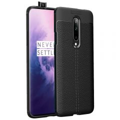 Black Leather Texture Stitch OnePlus 7 Pro Back Case Cover