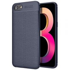Blue Leather Texture Stitch Oppo A83 Back Case Cover