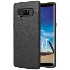 Black Leather Texture Stitch Samsung Note 8 Back Case Cover