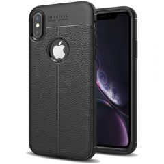 Black Leather Texture Stitch iPhone XR Back Case Cover