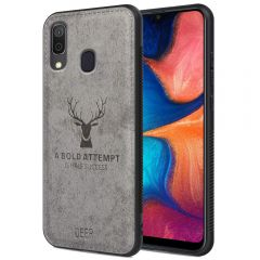 Samsung Galaxy A20 Back Case Cover Soft Fabric Deer Series - Grey