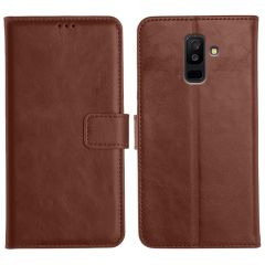 Samsung Galaxy A6 Plus Magnetic Flip Cover Leather Finish Mobile Case - Brown