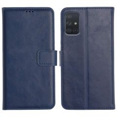 Samsung Galaxy A71 Magnetic Flip Cover Leather Finish Mobile Case - Blue
