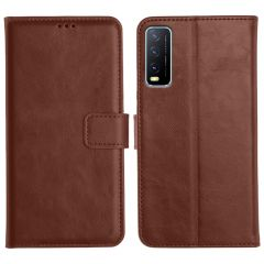 Vivo Y20A Magnetic Flip Cover Leather Finish Mobile Case - Brown