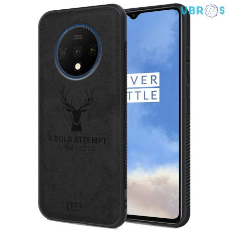 OnePlus 7T Back Case Cover Soft Fabric Deer Series - Black