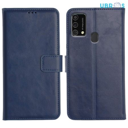 Samsung Galaxy F41 Magnetic Flip Cover Leather Finish Mobile Case - Blue