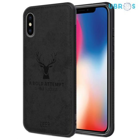 iPhone X Back Case Cover Soft Fabric Deer Series - Black